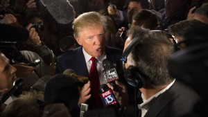 Donald Trump. Republican presidential candidate Donald Trump speaks to the media in the spin room after the first Republican presidential debate at the Quicken Loans Arena Thursday, Aug. 6, 2015, in Cleveland. (AP Photo/John Minchillo)