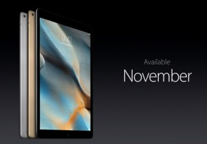 Apple iPad Pro; Date Available